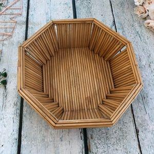 Bamboo basket octagon large tan bowl wall hanging